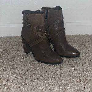 Vince Camuto Buckle Booties-Brown Leather - Size 9